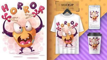horreur affiche monstre halloween et merchandising vecteur