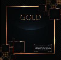 cadres carrés d'or de luxe sur fond noir