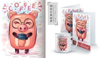cochon dessin animé avec une tasse de café maquette vecteur