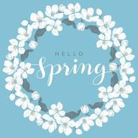 cadre rond fleur de cerisier avec lettrage bonjour printemps vecteur