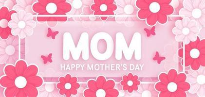 bannière de la fête des mères avec des fleurs dans un style papier découpé