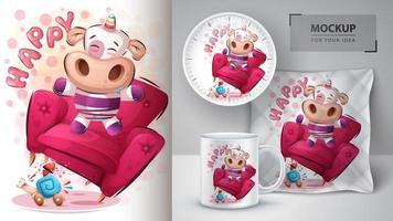 merchandising et affiche de licorne heureuse vecteur