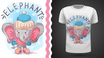 éléphant d'hiver sur fond bleu