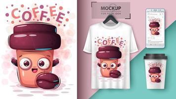 conception de tasse de café de dessin animé vecteur