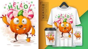 affiche de monstre citrouille bonjour dessin animé