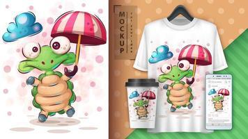 tortue de dessin animé avec affiche parapluie vecteur