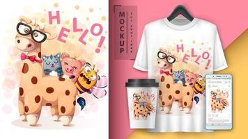 affiche de girafe de dessin animé de bonjour amis