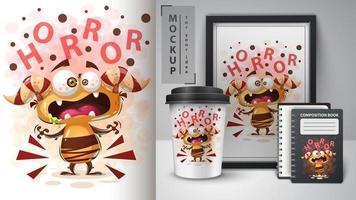 dessin animé monstre d'horreur design vecteur