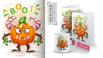 affiche de monstre citrouille boo dessin animé vecteur