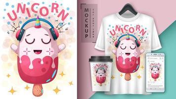conception de barre de crème glacée licorne dessin animé rose vecteur