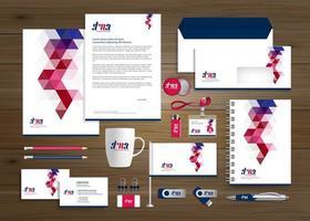 ensemble d'identité et de promotion d'entreprise de conception géométrique