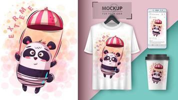conception de panda dessin animé parachute