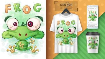 affiche de grenouille verte de dessin animé vecteur