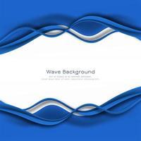 carte de cadre élégant vague bleue
