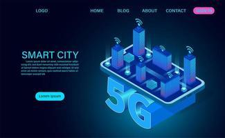 concept de ville intelligente sur le symbole 5g