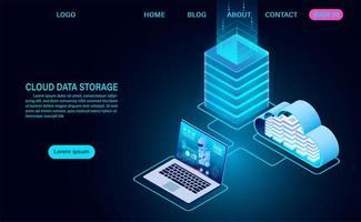stockage de données cloud et salle de serveurs