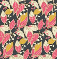 motif floral sans couture avec des feuilles dessinées à la main