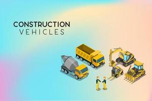 véhicules de construction derrière les travailleurs se serrant la main vecteur