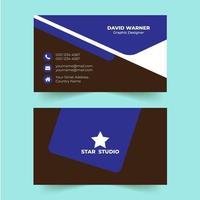 modèle de carte de visite moderne couleur bleue créative
