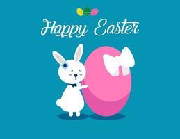 beau lapin et joyeuses pâques fond vecteur