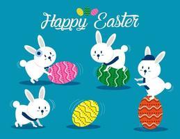 joli ensemble de lapin de Pâques vecteur