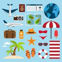 voyage et vacances sur l'ensemble d'éléments de plage vecteur