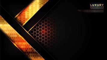 fond de ligne angulaire moderne avec motif hexagonal or
