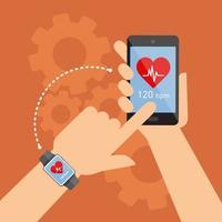 smartwatch et smartphone touchant la main vecteur