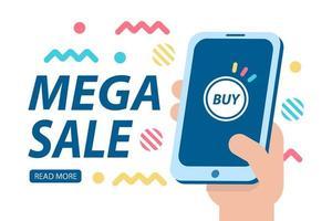 bannière de vente méga avec téléphone et formes géométriques