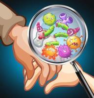 germes sur les mains humaines
