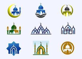 ensemble de construction de mosquée minimaliste vecteur