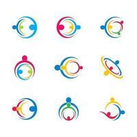 icône de travail d'équipe entreprise sertie de gens dans les cercles vecteur