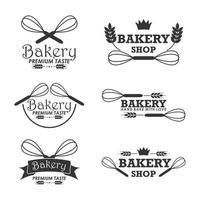 modèle de logo de boulangerie sertie de fouets vecteur