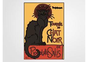 Chat noir poster vecteur