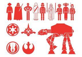 Silhouettes de personnages de Star Wars vecteur
