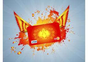 Carte de crédit volante vecteur