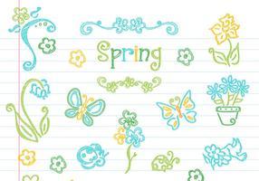 Collection vectorielle d'éléments de printemps floraux dessinés