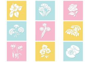 Ensemble de fleurs de fleurs en pastel