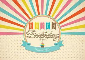 Rétro vecteur de carte d'anniversaire heureux