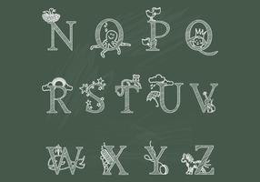 Chalk Children's Alphabet N-Z Vectors