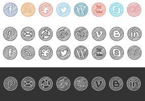 Sketchy Drawn Social Media Icons Vector Pack