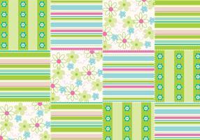 Fleurs et rayures Sans personnage Patchwork Vector Pattern