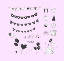 doodle party elements vector ensemble