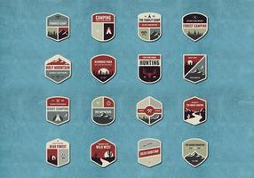 Vecteurs de badges extérieurs et de camping vecteur