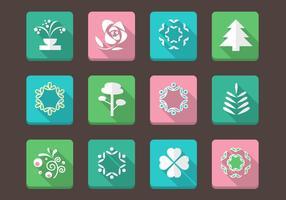 Collection de vecteur d'icônes florales