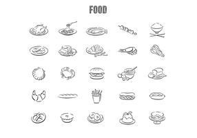 Jeu de vecteur de nourriture dessinés à la main