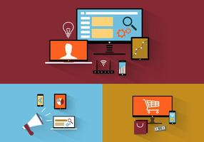 Flat Design Tech Icons Vector Pack