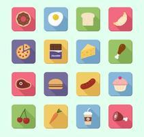 Ensemble vectoriel 16 icônes alimentaires