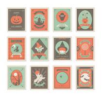 Vecteurs de timbres de poste de Halloween gratuits vecteur