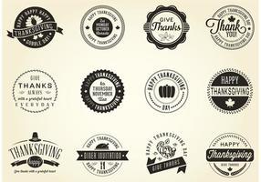 Badges de thanksgiving vecteur gratuit